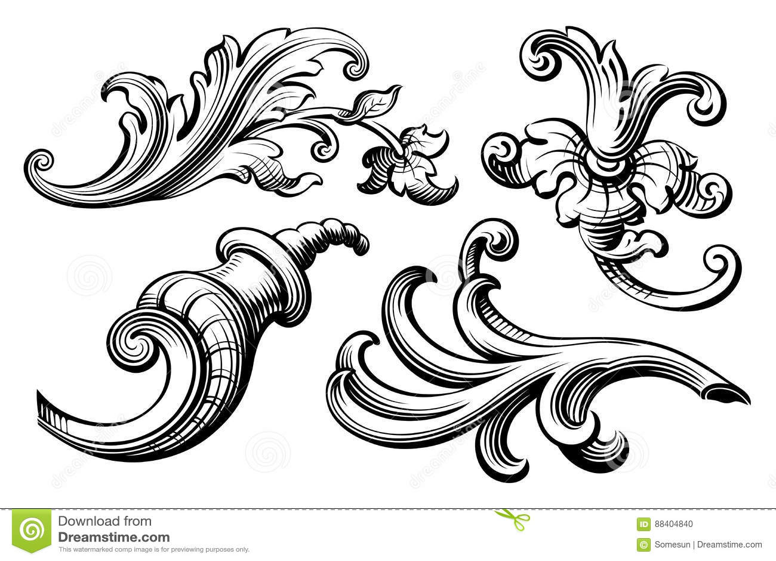 vintage baroque victorian frame border monogram floral ornament scroll engraved retro pattern