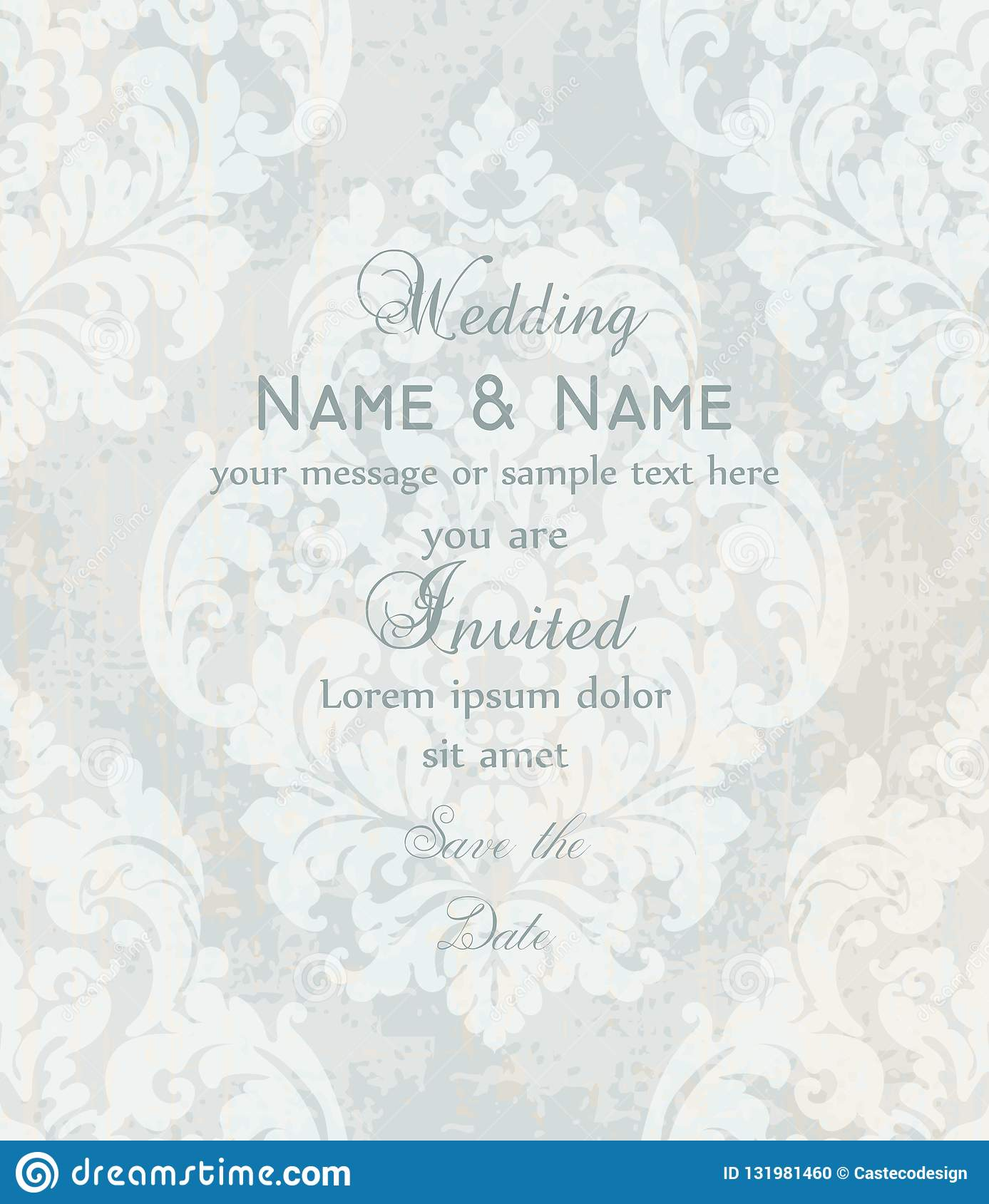 Vintage Baroque Victorian Invitation card Vector. Floral ornament decoration. Light colors