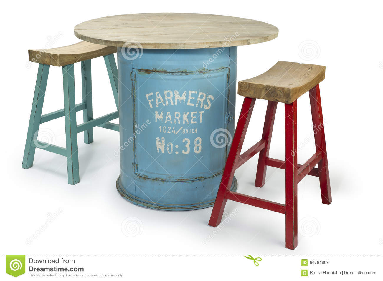 vintage barrel table with two modern high chairs stock photo  - vintage barrel table with two modern high chairs stock photo