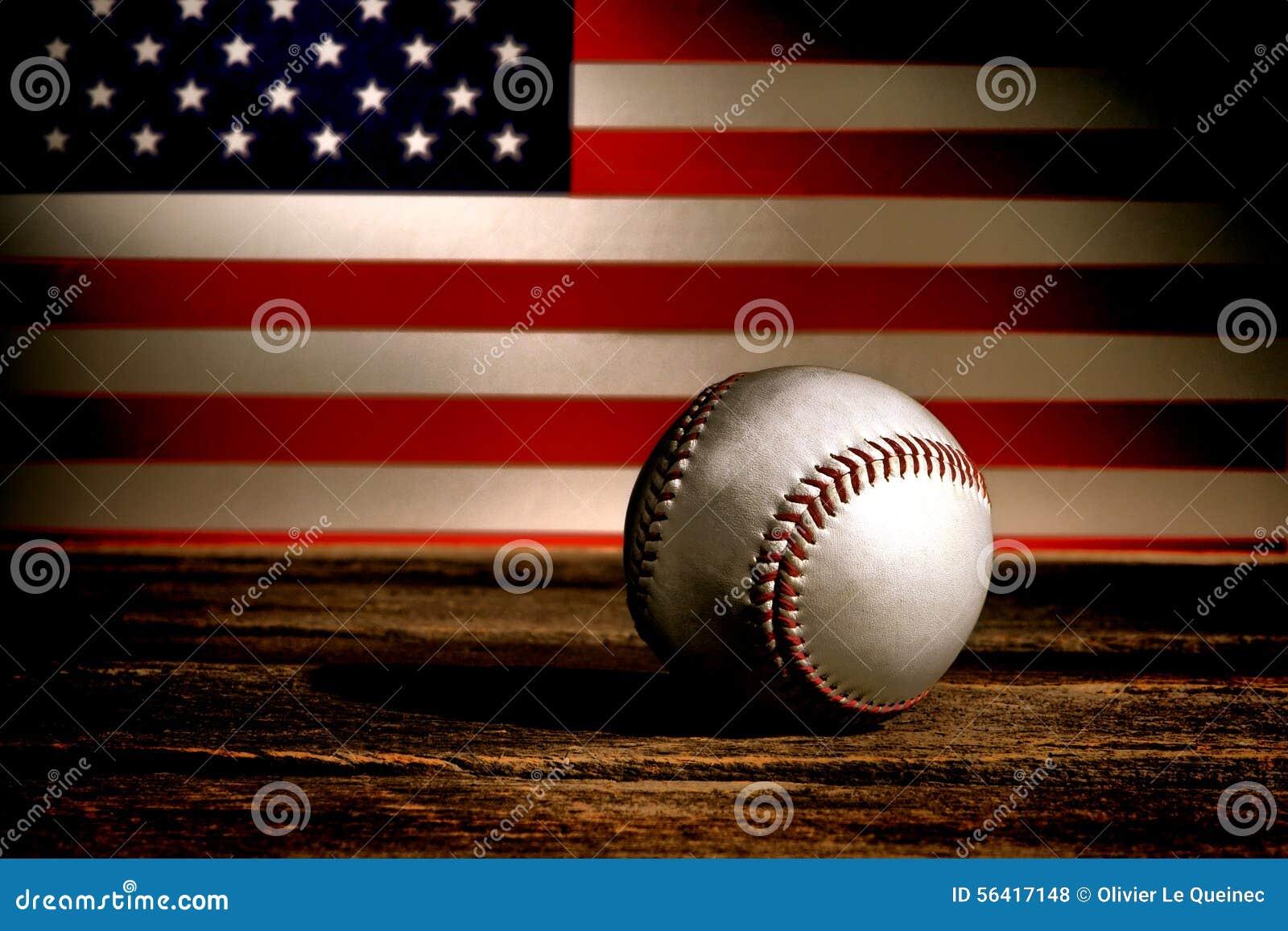 Vintage Baseball Ball And Patriotic American Flag Stock Photo ...