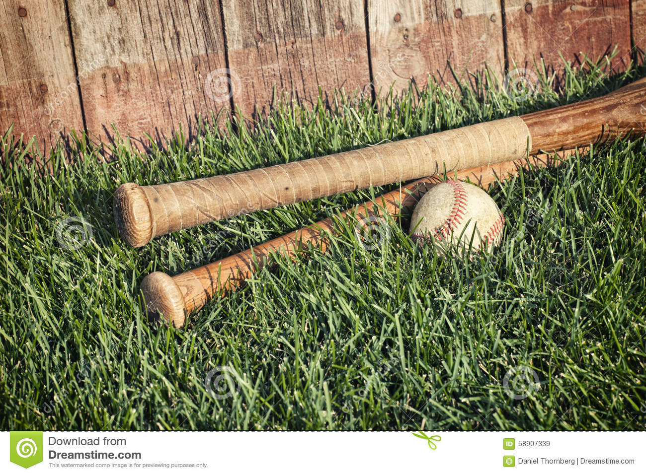 Vintage Photo Of Grass: Vintage Baseball And Bats On Grass Near Old Wooden Fence
