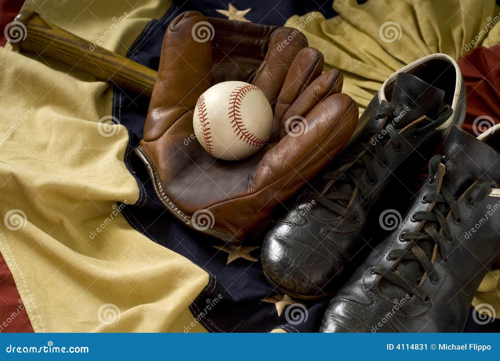 Vintage Baseball Gear Stock Image