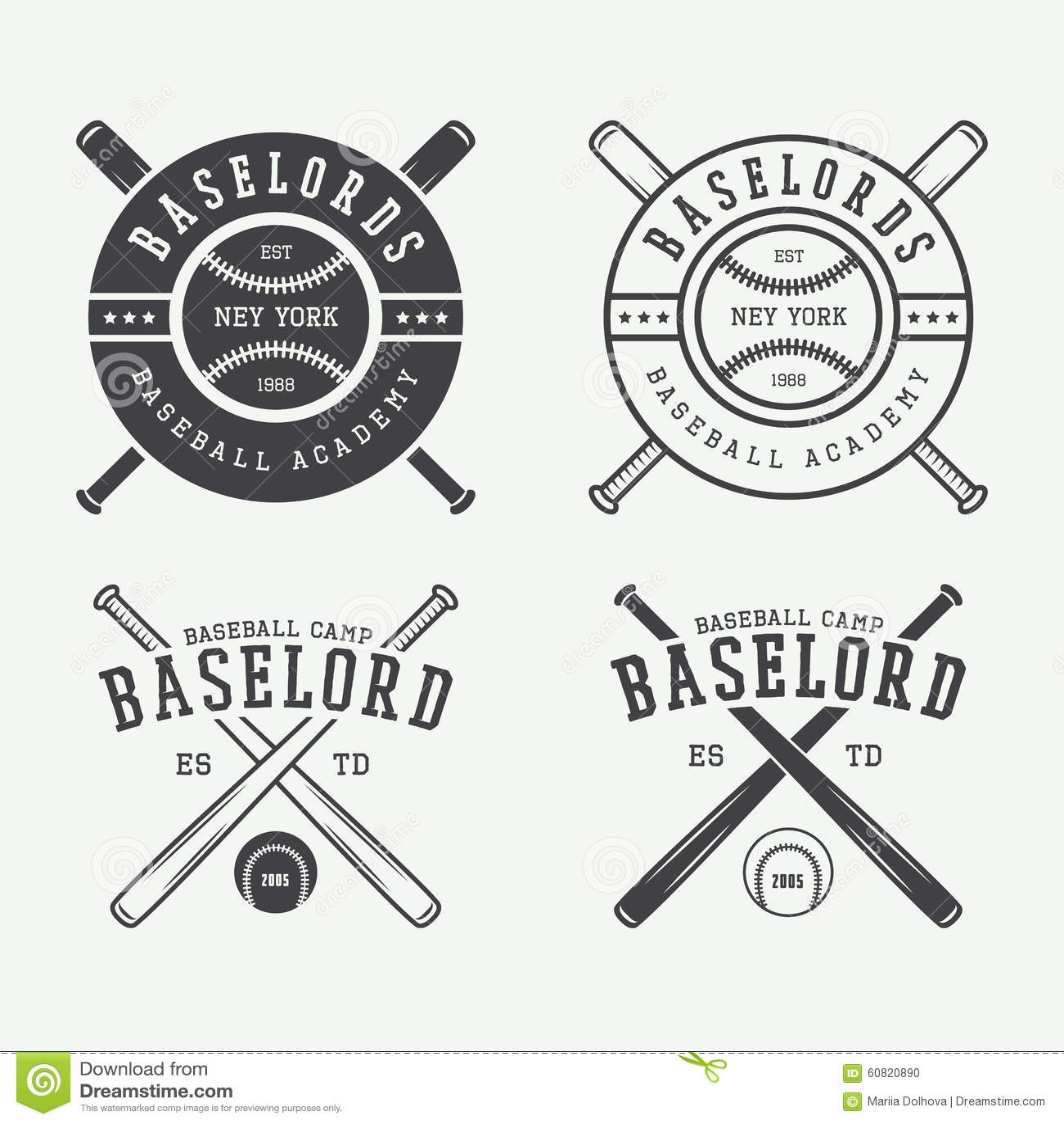vintage baseball logos emblems badges and design