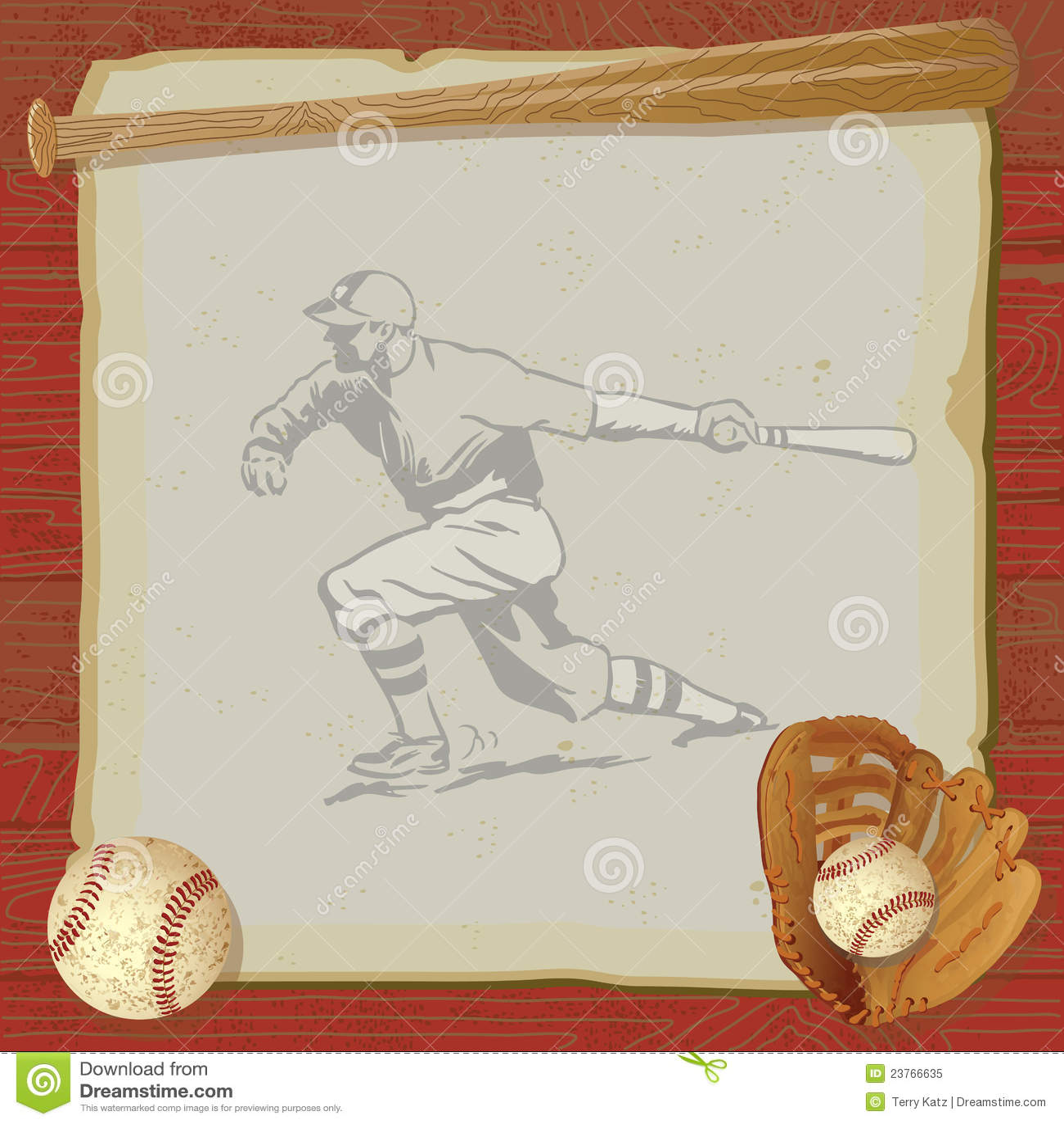 vintage baseball party invitation card stock vector illustration