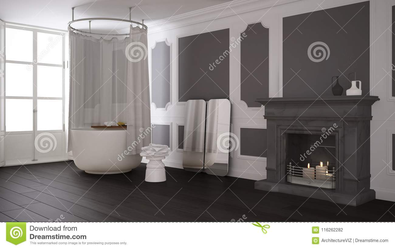 Vintage Bathroom In Classic Space With Old Fireplace And Parquet Floor Modern Interior Stock Illustration Illustration Of Vintage Modern 116262282