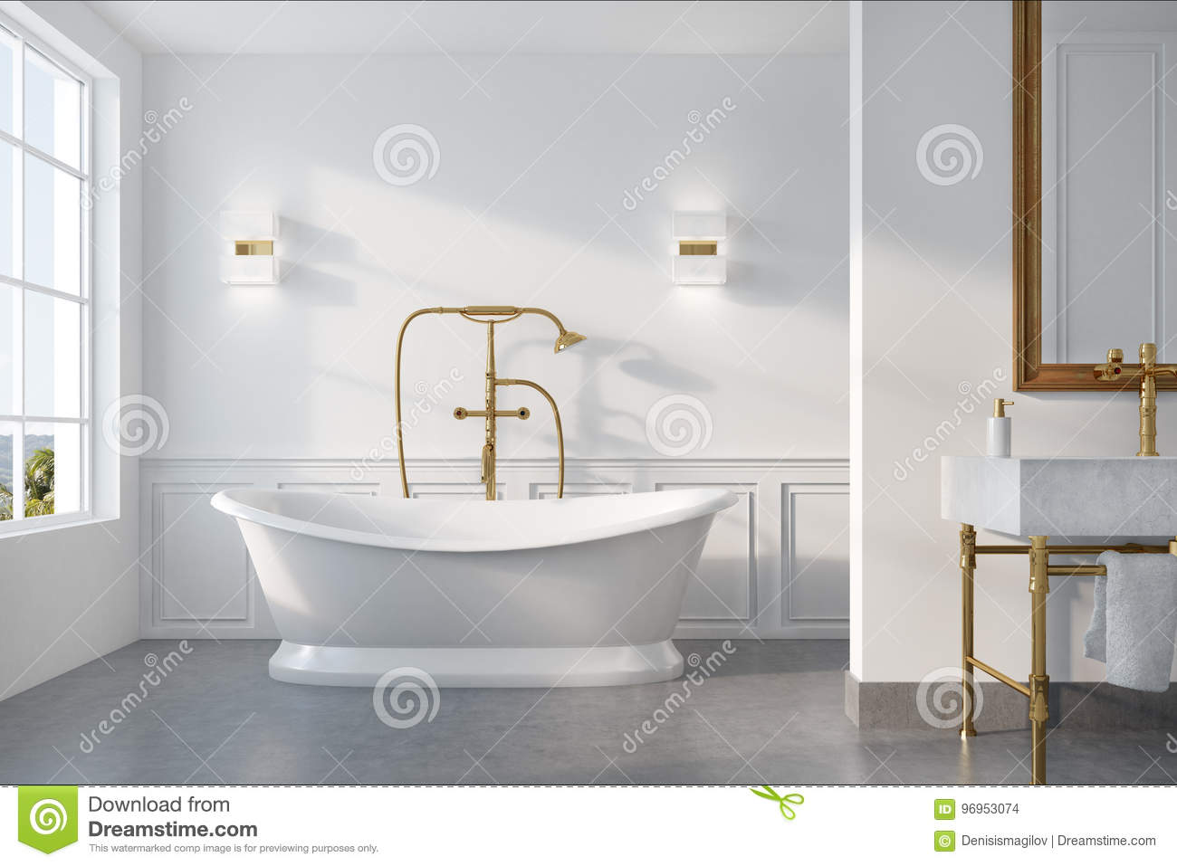 Vintage Bathroom Interior, White Tub Stock Illustration ...