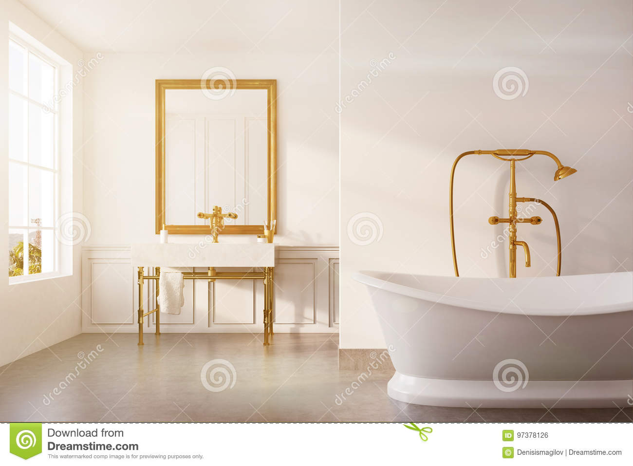 Vintage Bathroom White Tub Sink Toned Stock Illustration