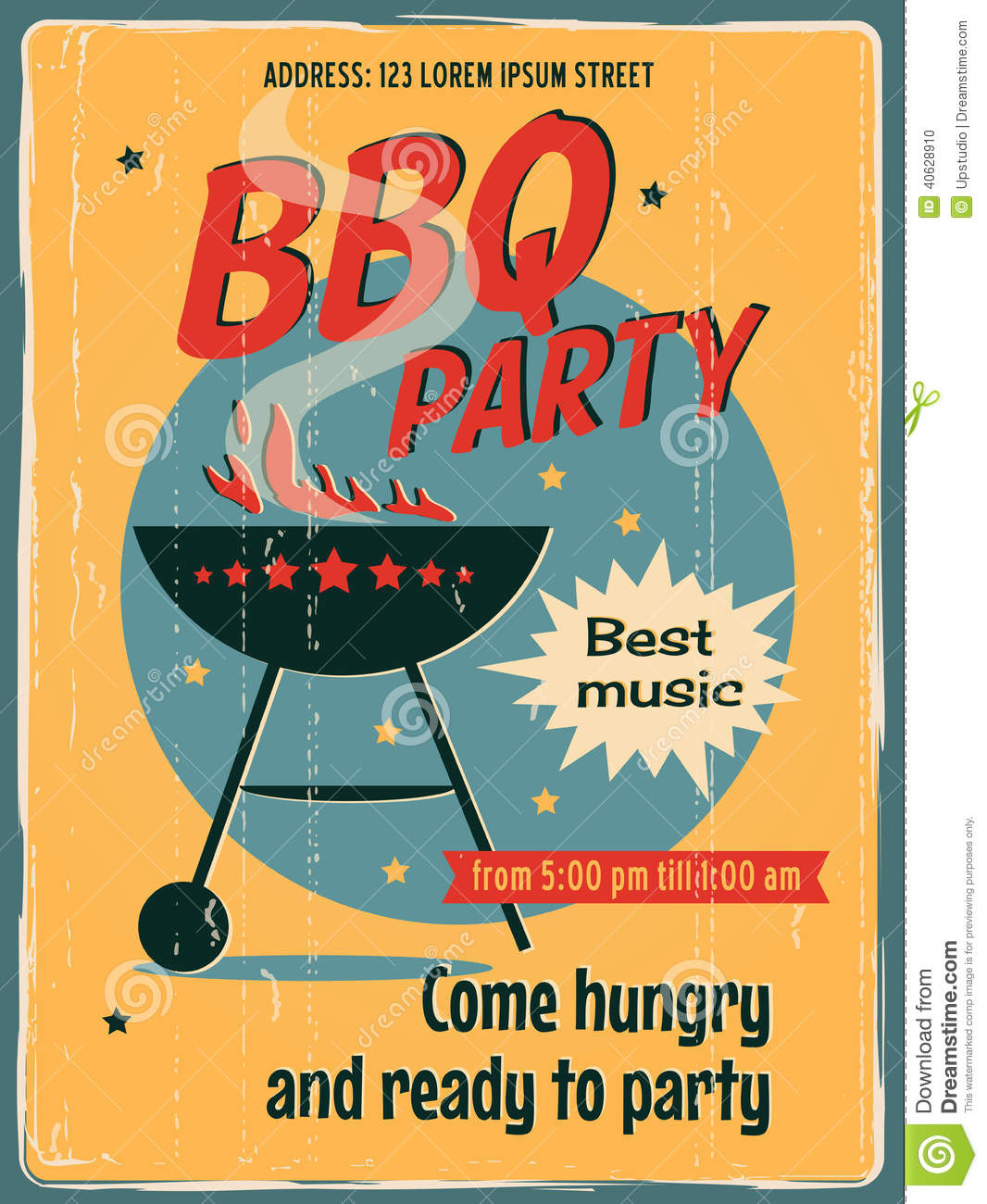 Retro vector banner with a BBQ. Vintage poster template for BBQ party ...