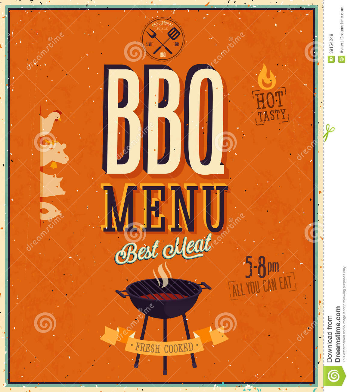 vintage bbq poster  royalty free stock photos