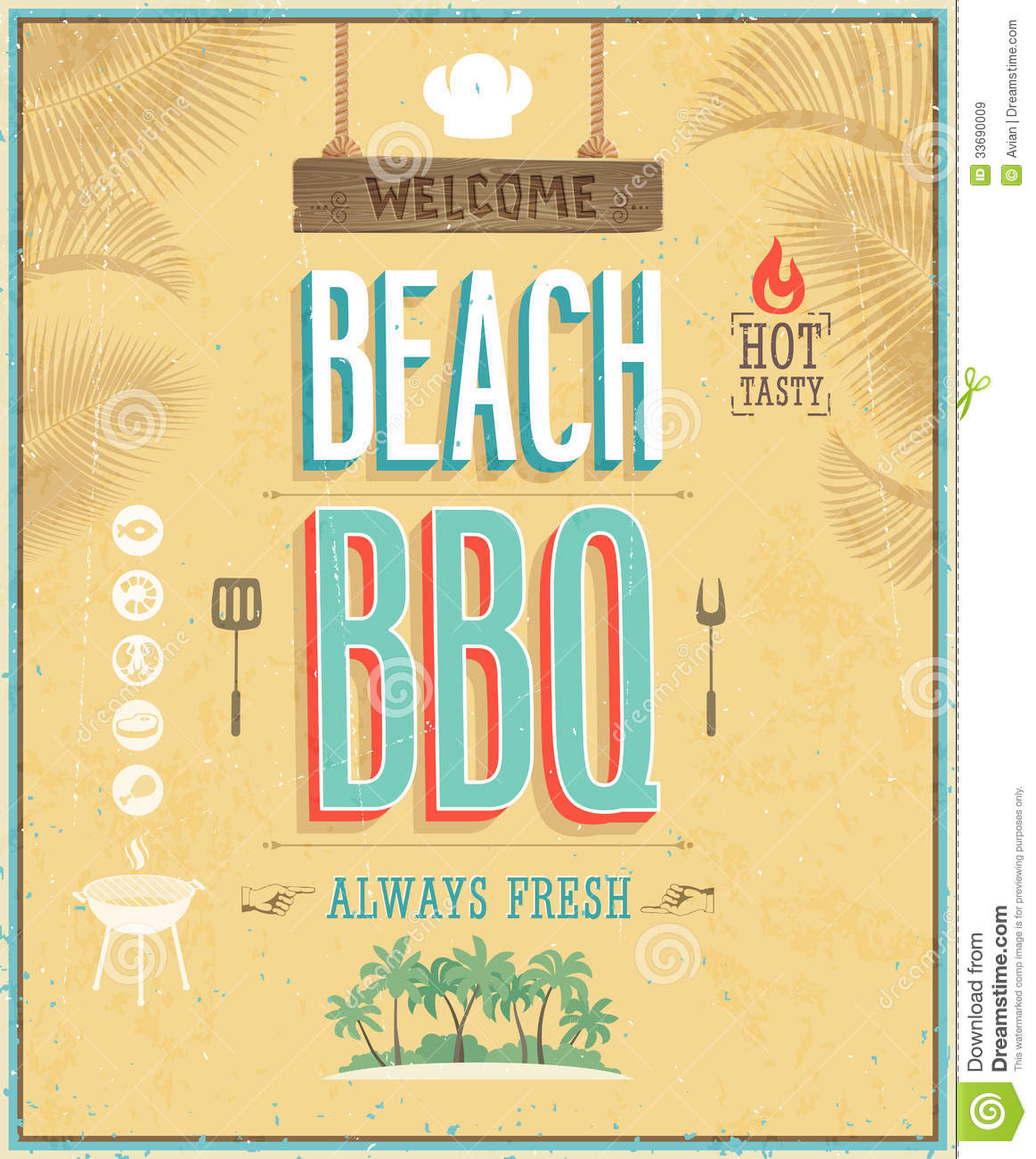vintage beach bbq poster vector background royalty free