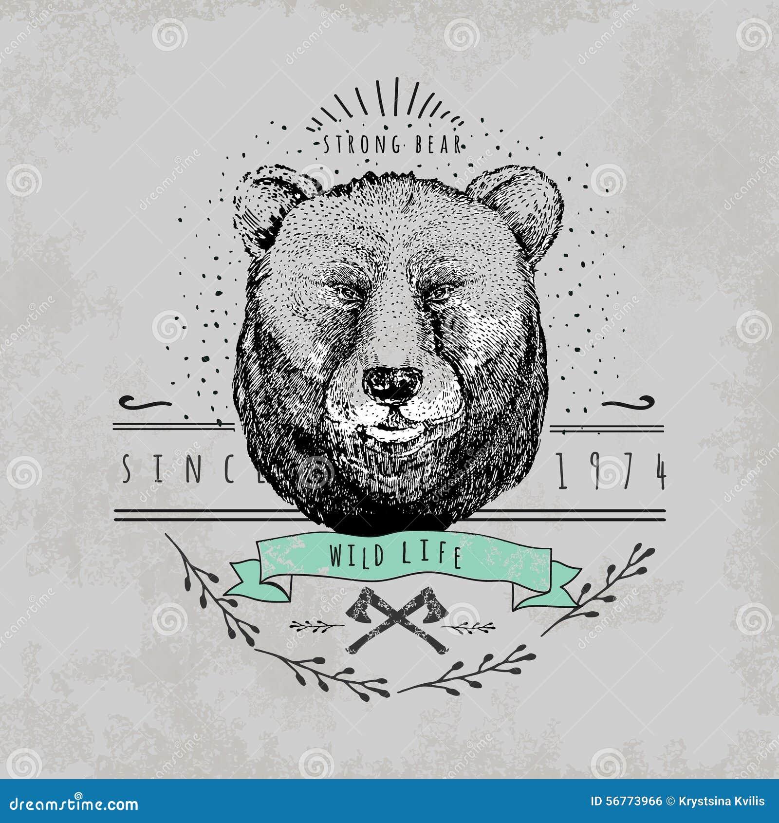 Vintage Bear Logo Stock Vector - Image: 56773966
