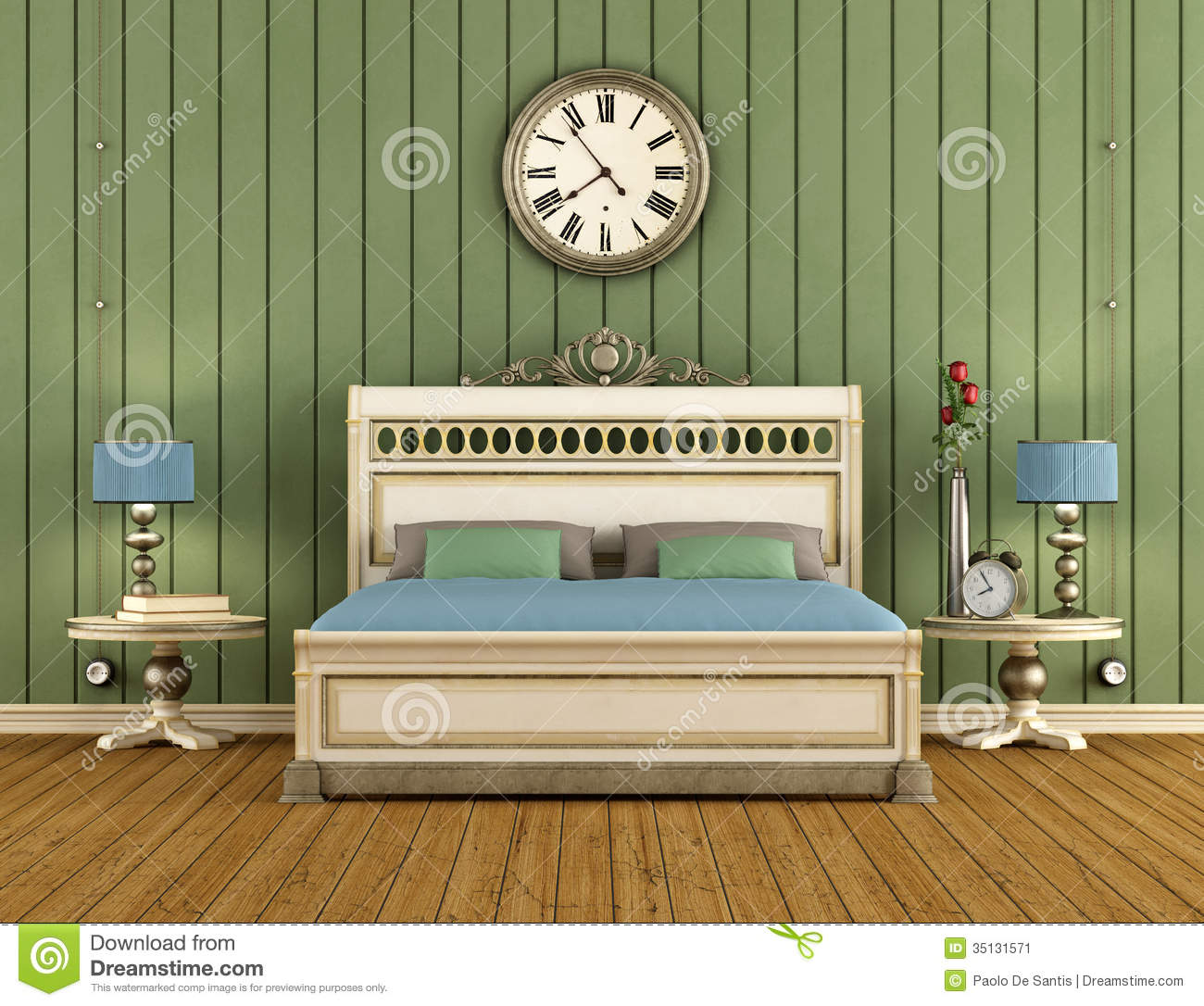 bed bedroom classic green paneling. Vintage Bedroom With Green Wall Paneling Stock Image   Image  35131571