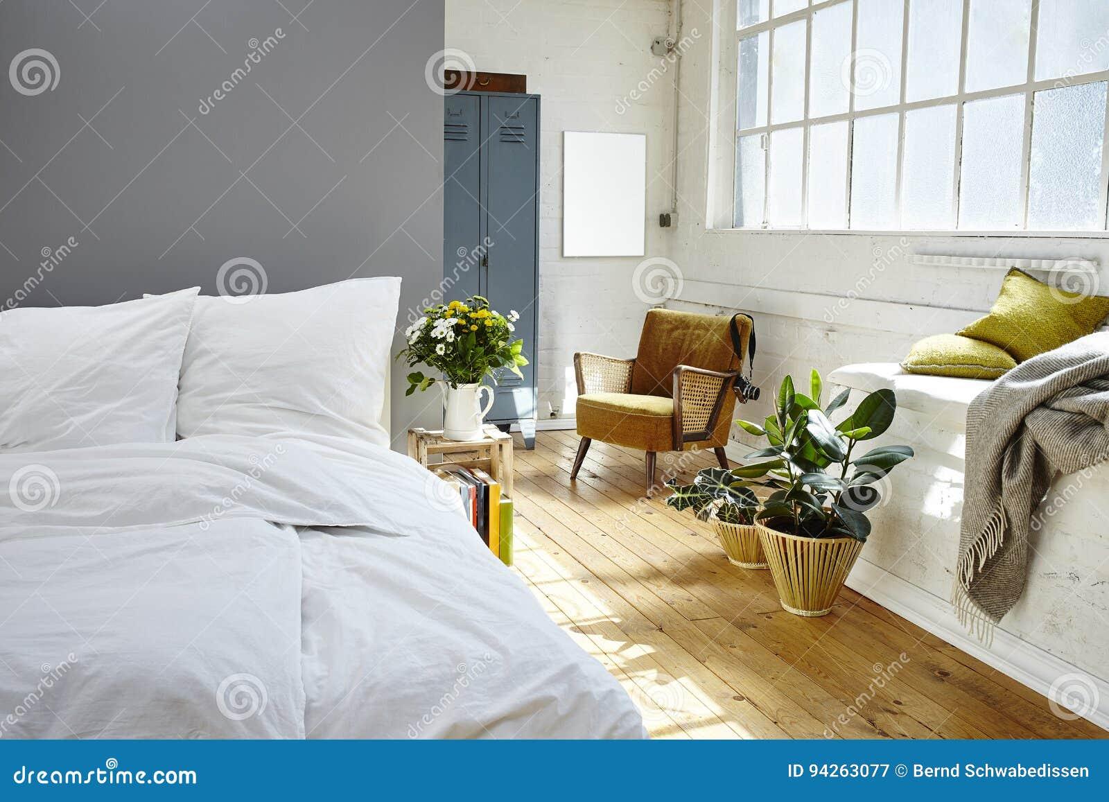 Vintage Bedroom Morning Light Industrial Loft Stock Image ...
