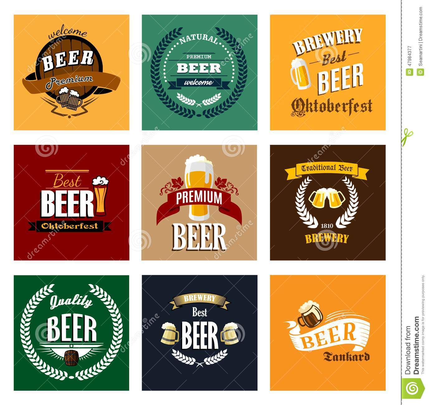 vintage beer labels and emblems collection stock vector