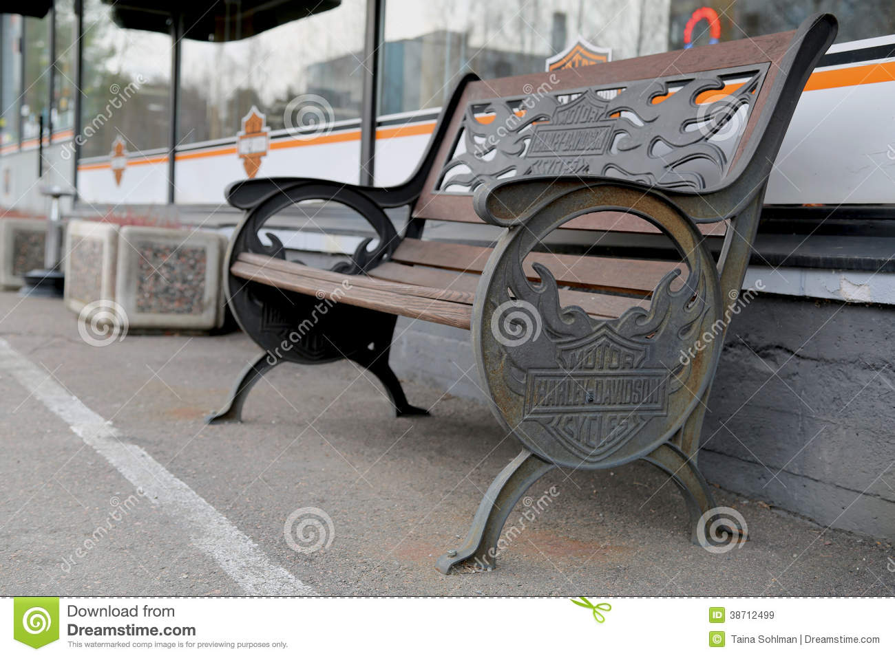 Vintage Bench With Harley Davidson Signage Editorial Stock