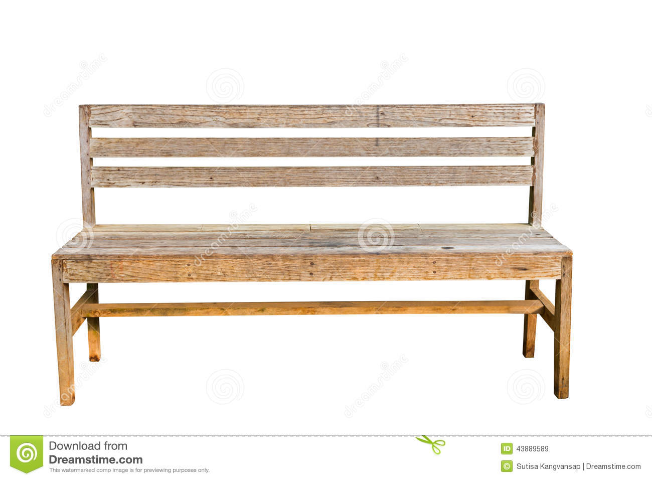Vintage Bench In White Background Stock Image Image Of