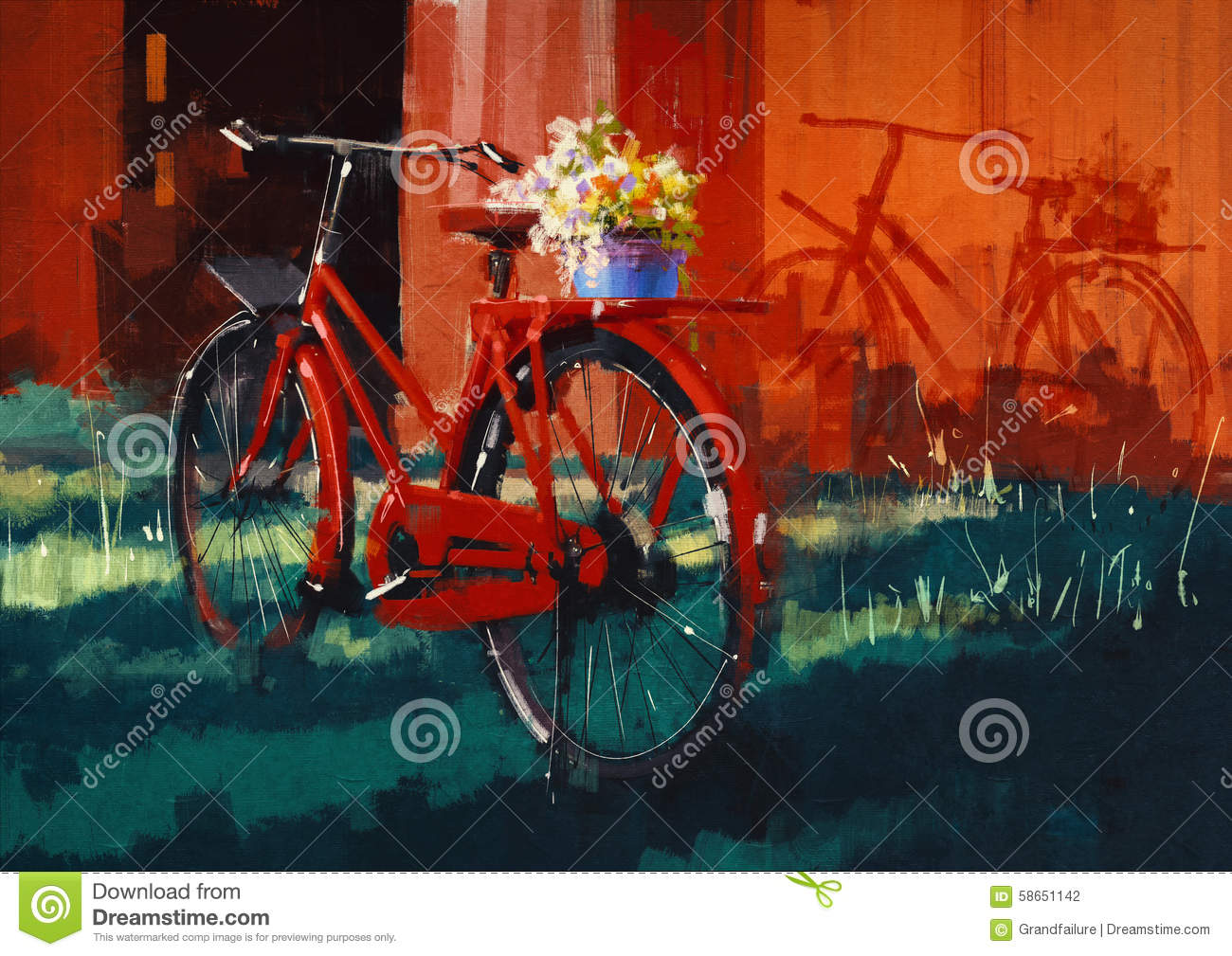 Vintage bicycle with bucket full of flowers