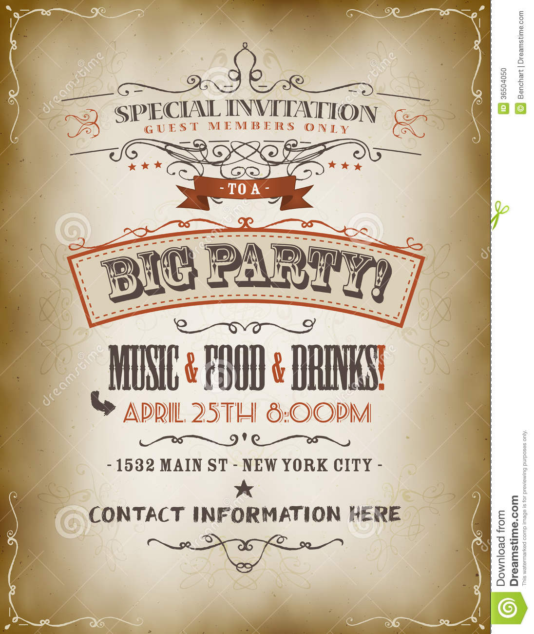 Vintage Big Party Invitation Poster Stock Vector - Illustration of ...