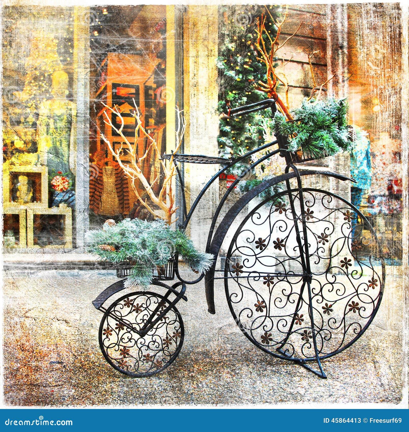 Vintage bike stock image. Image of flower, floral, artwork - 45864413