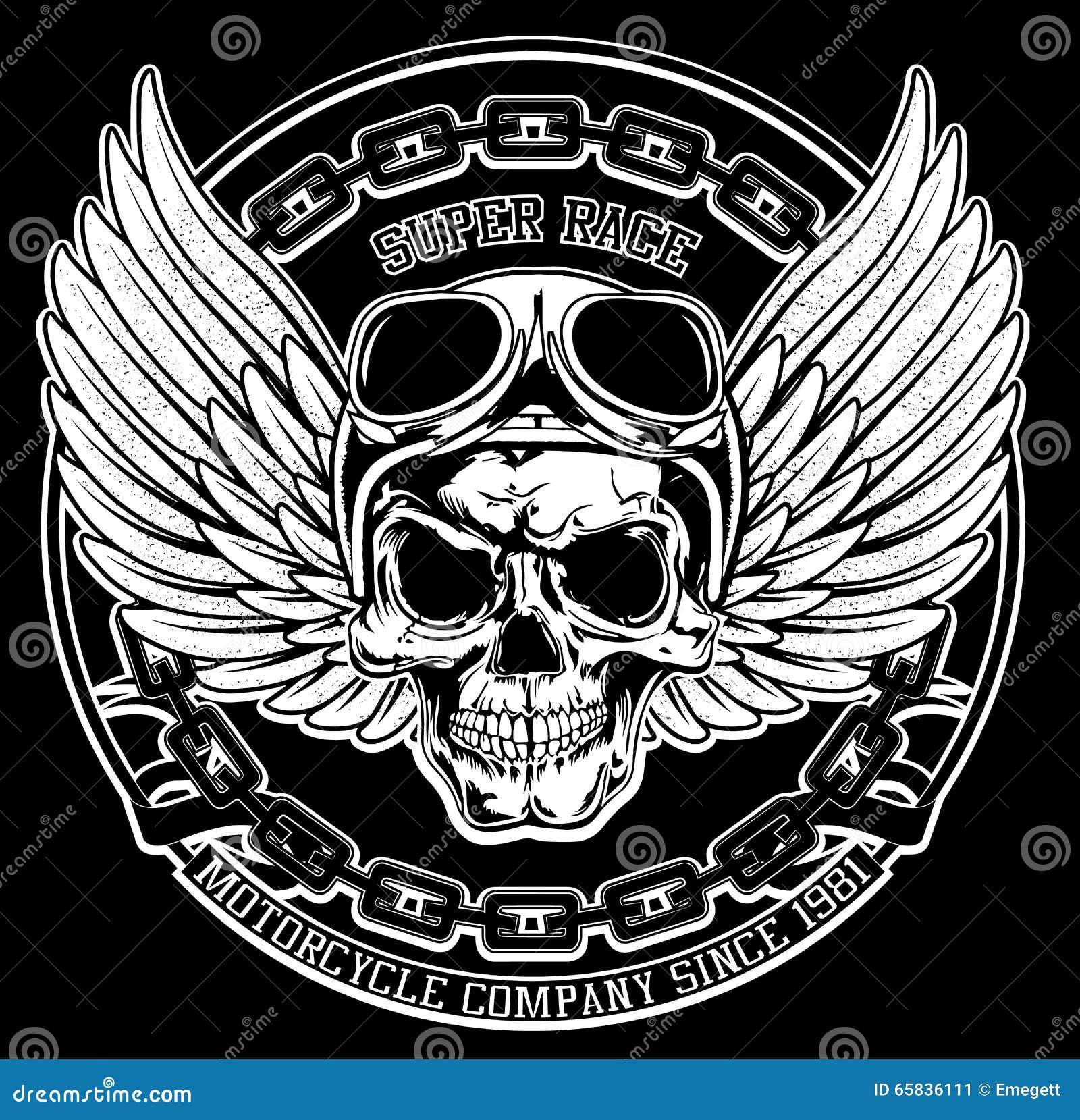 Vintage Biker Skull Emblem Tee Graphic Stock Vector