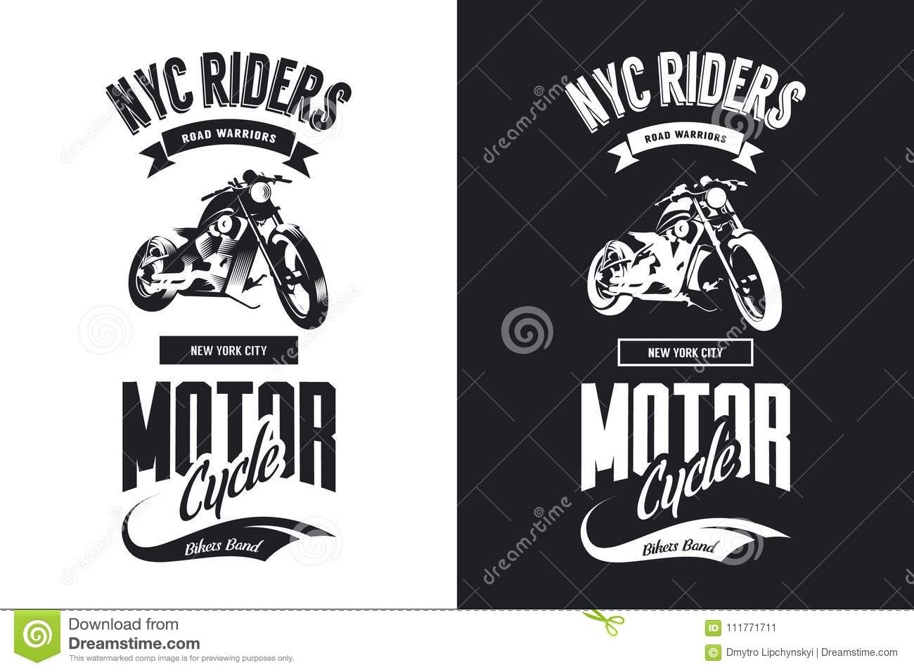 e1c98433 Premium quality motorcycle logotype tee-shirt emblem illustration. New York  City road warriors street wear retro hipster tee print design.