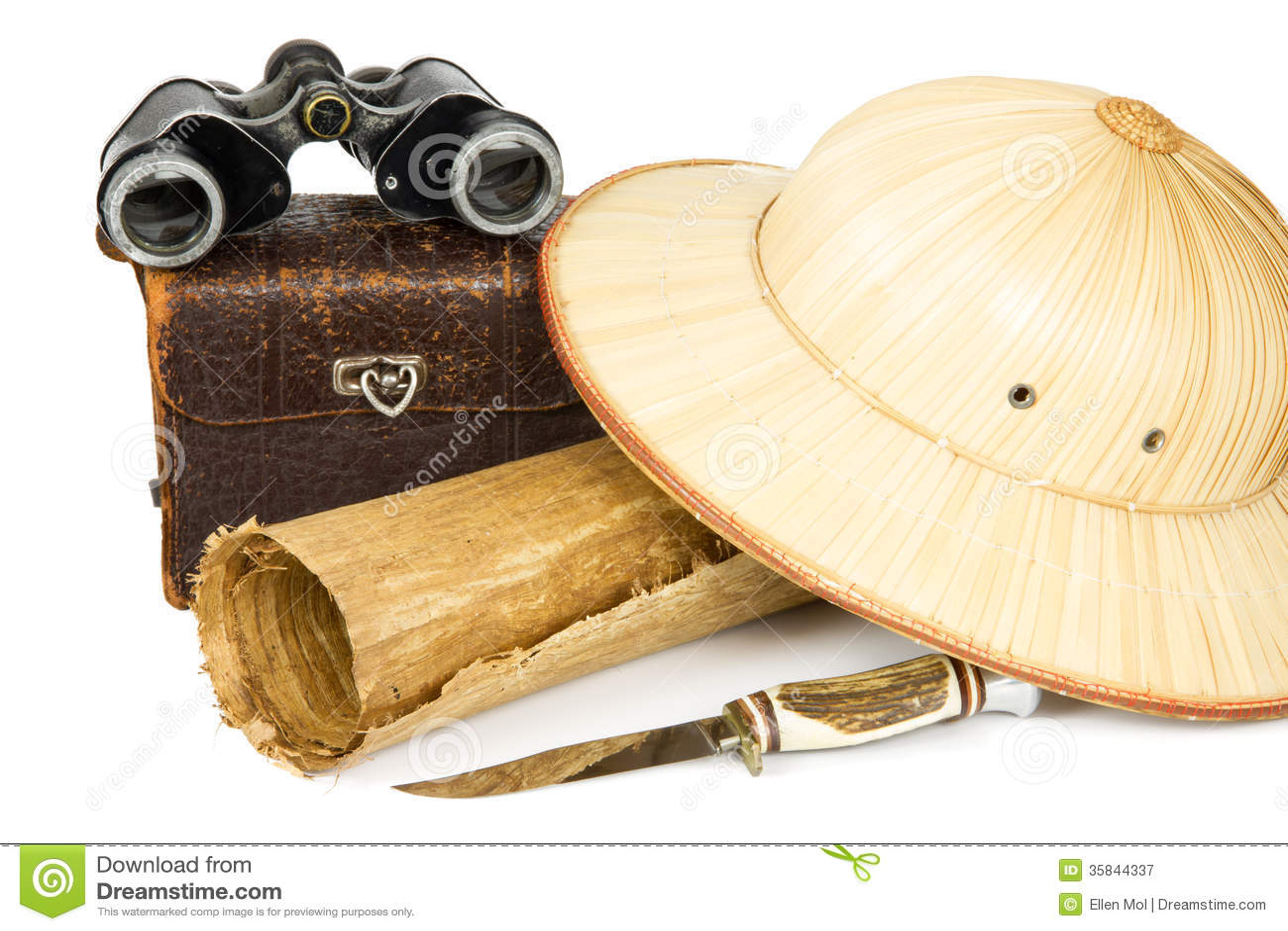 Vintage camera bag, binoculars, reed safari hat, peri plus and roll of ...