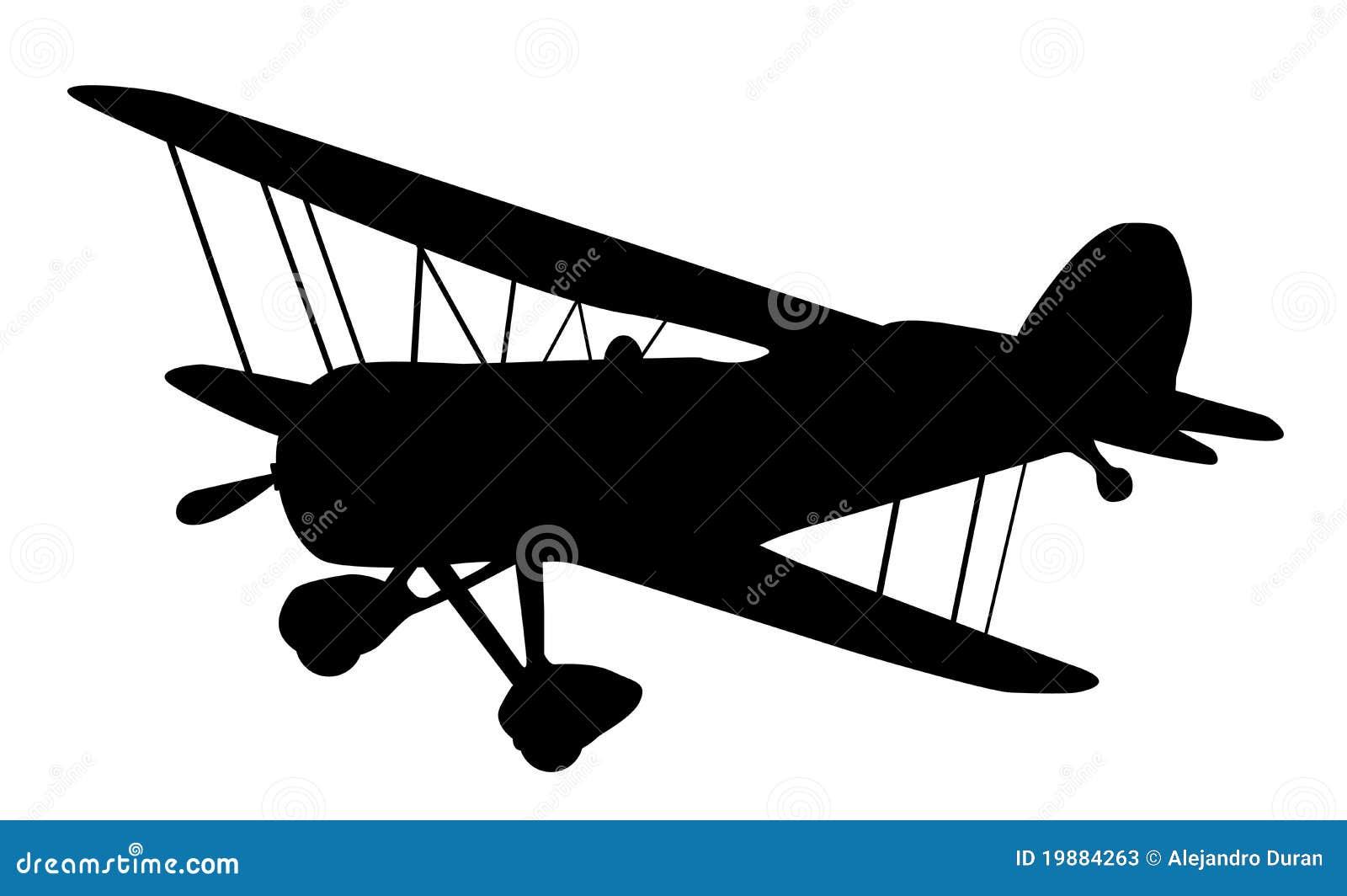 Vintage Biplane Silhouette Stock Vector Illustration Of
