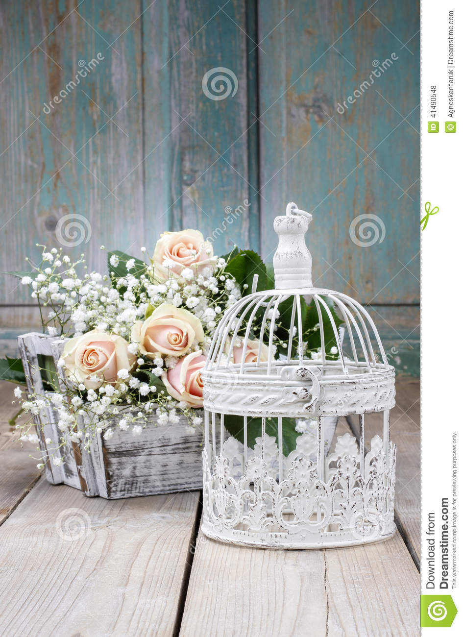 Vintage Birdcage Beautiful Pink Roses And Gypsophila