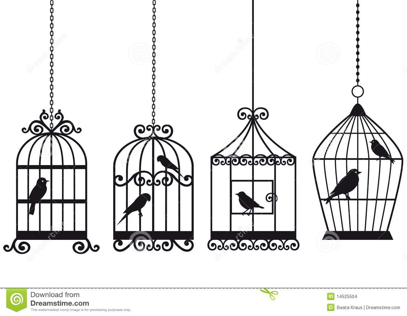 Open Birdcage Silhouette Vintage birdcages with birds