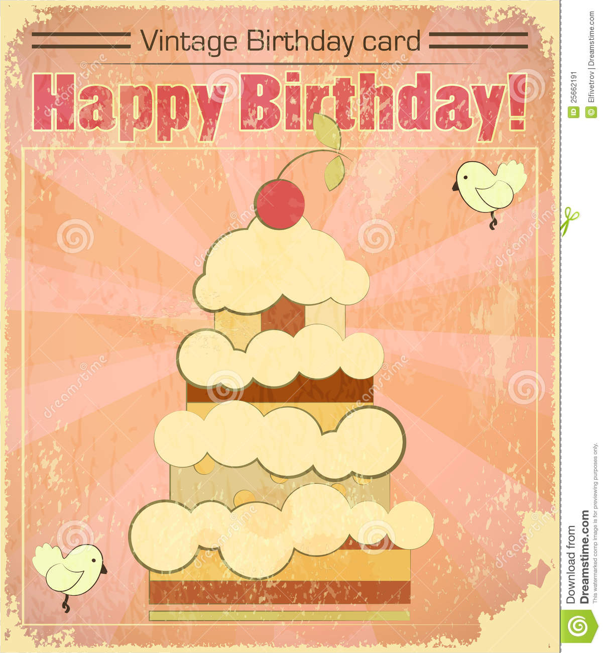 Vintage Birthday Card With Big Berry Cake Stock Image