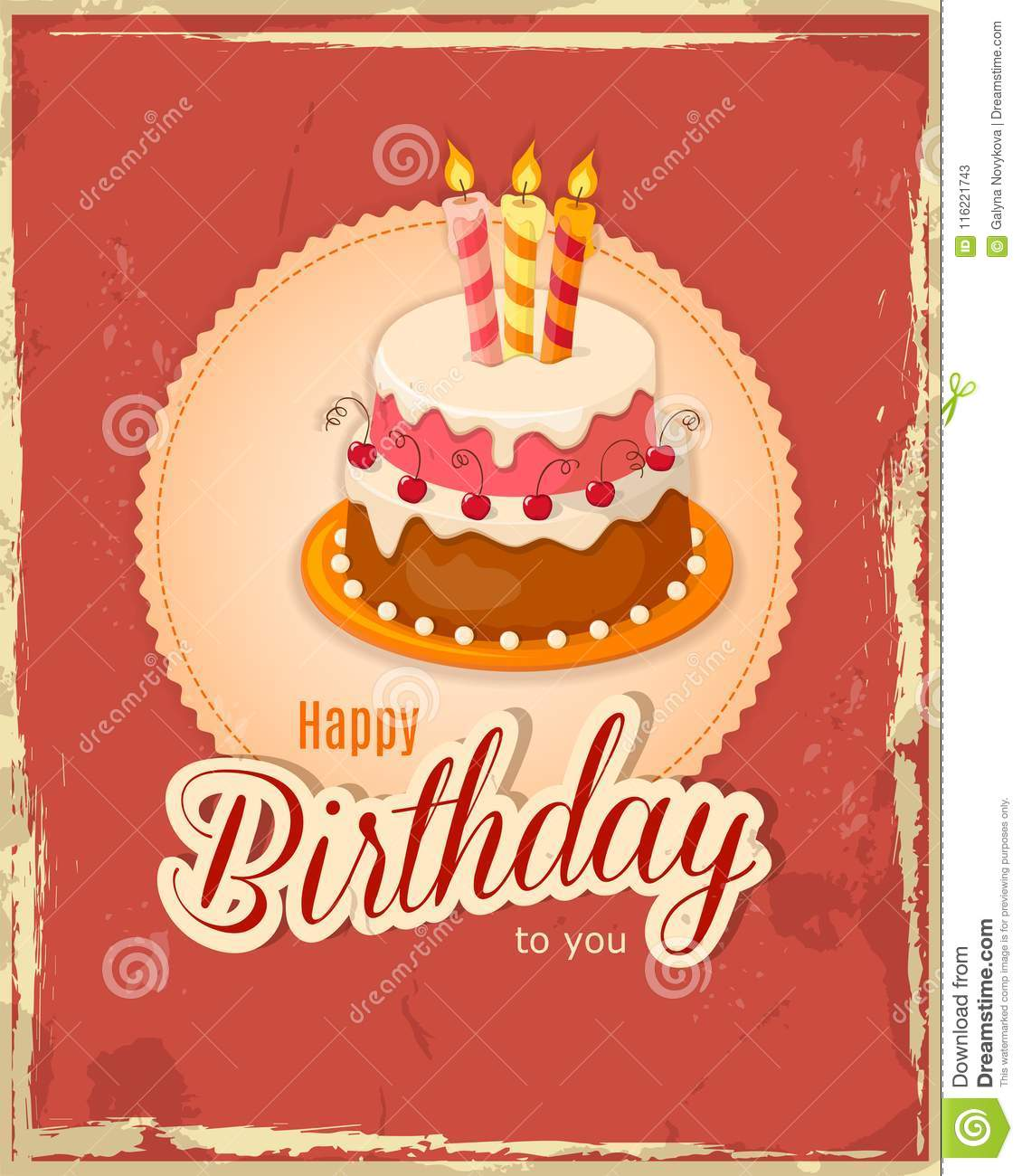 Red Vintage Birthday Card With Cake Tier On Napkin Stock Vector