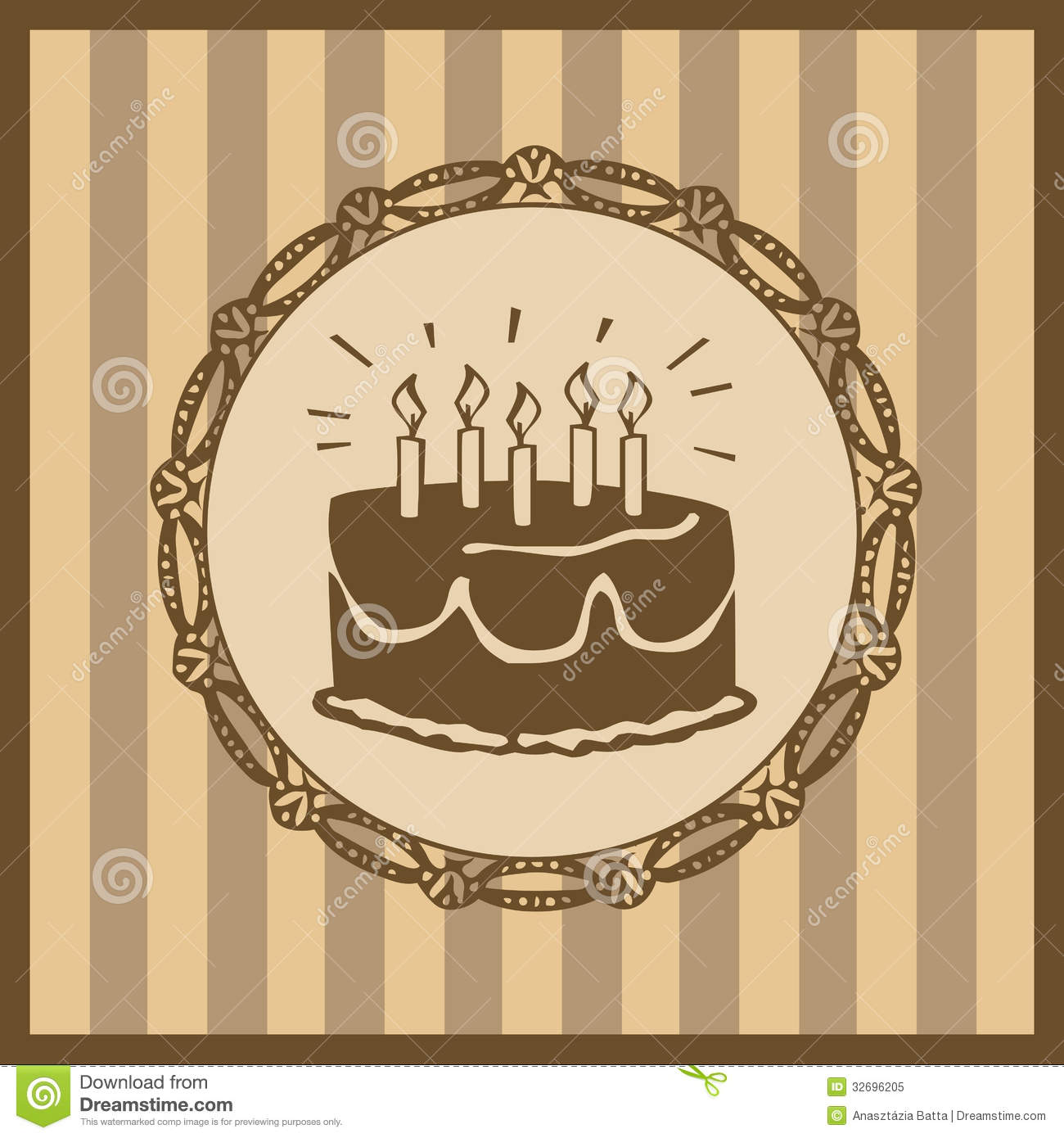 Vintage Birthday Card Royalty Free Stock Photo Image 32696205