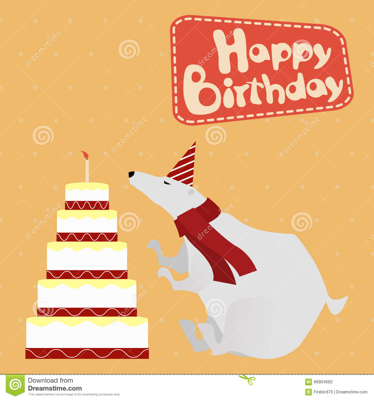 Vintage Birthday Greeting Card With Funny White Bear And
