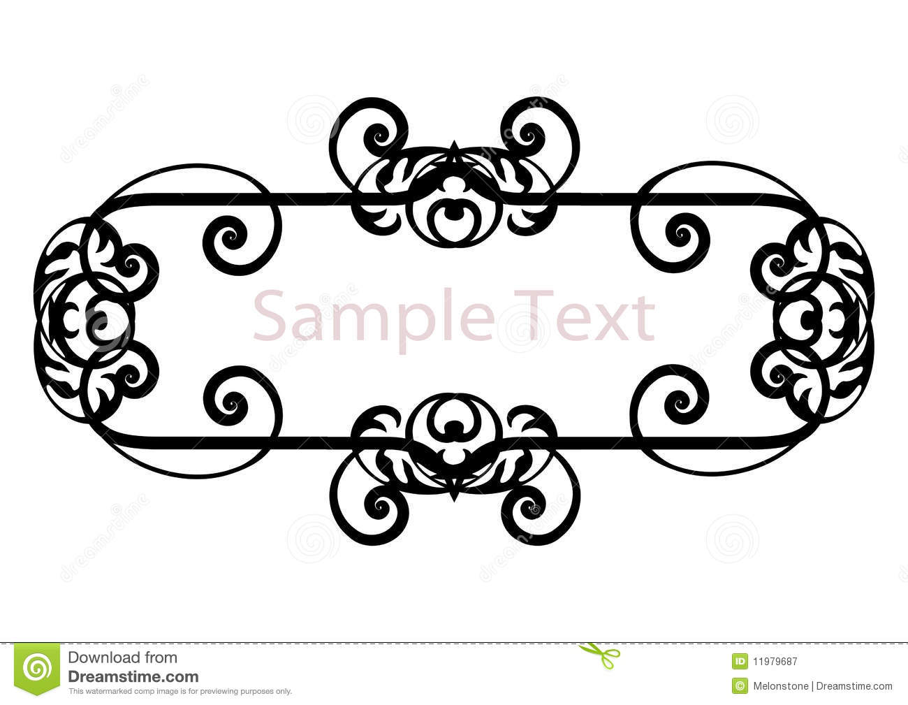 Black Deco Stylized Banner Frame Or Border With Copy Space Isolated On White Invites Nameplate Wedding Engagement Decoration Designs Label