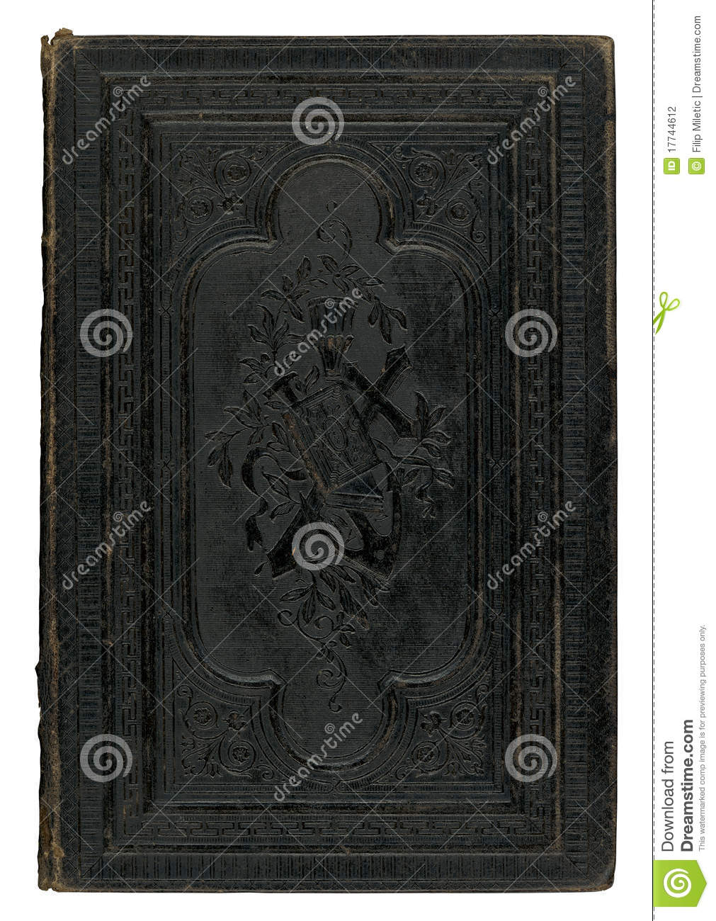 Black Leather Book Cover : Vintage black book cover stock photography image