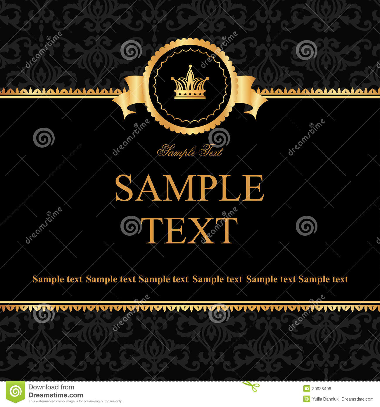 ... black damask background with frame of golden elements for text