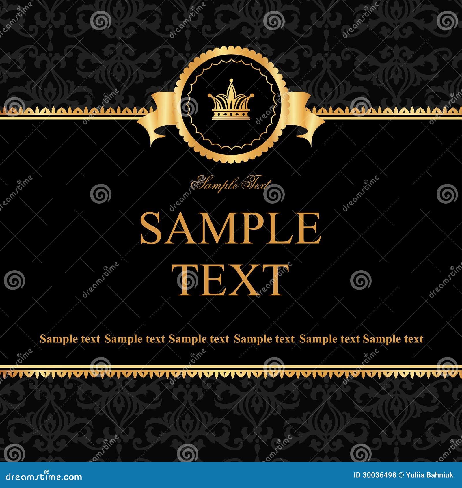78ca04bfd991 Vintage black damask background with frame of golden elements for text