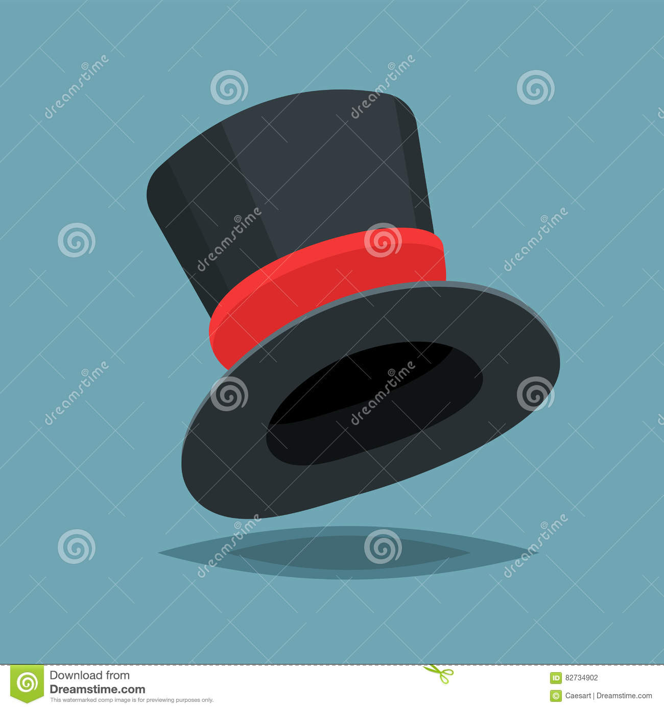 Vintage black gentleman top hat ith red stripe isolated on blue vintage black gentleman top hat ith red stripe isolated on blue background vector flat design cloth illustration biocorpaavc Image collections