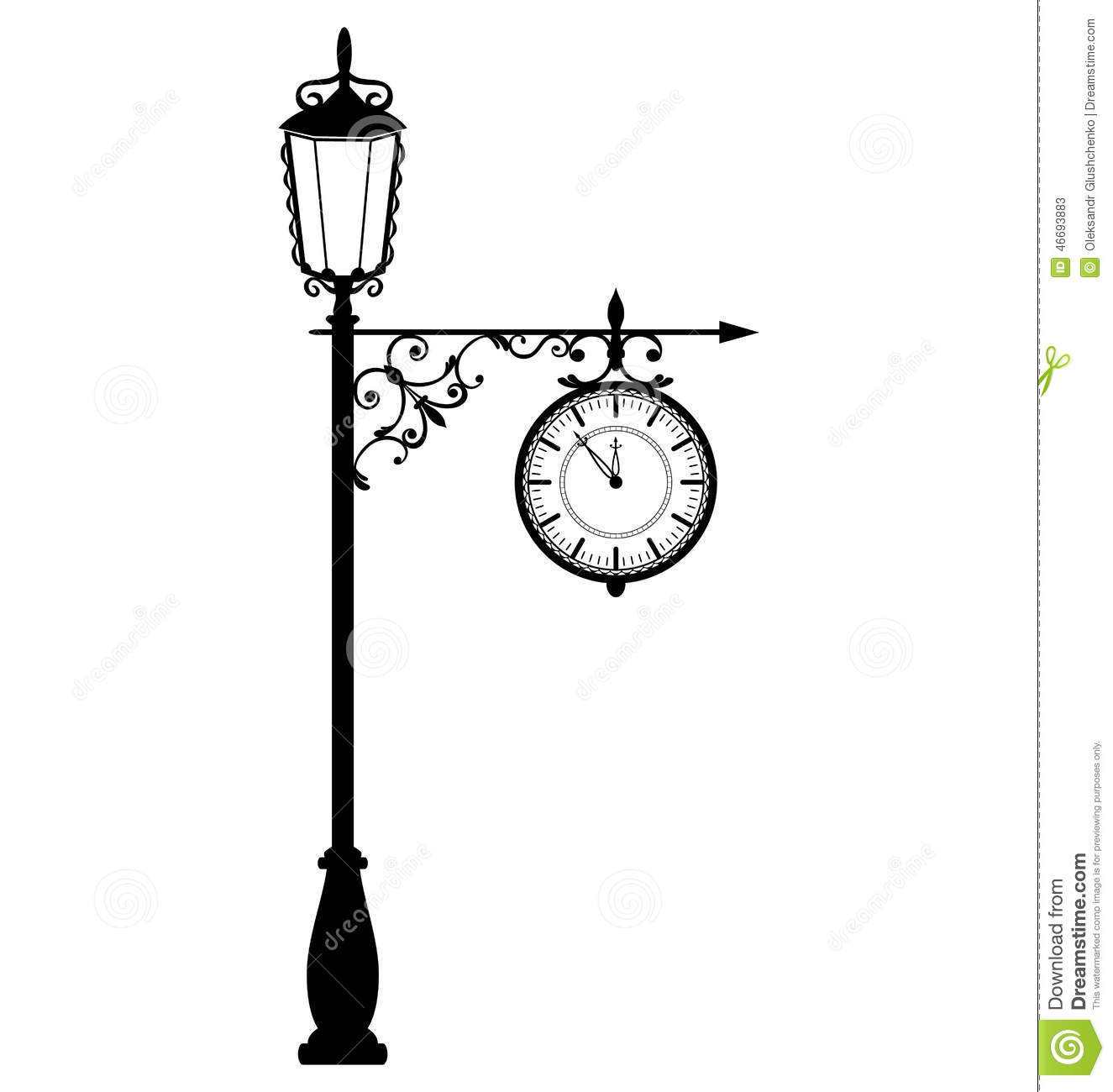 Vintage Black Lamppost With Clock Isolated On White Stock