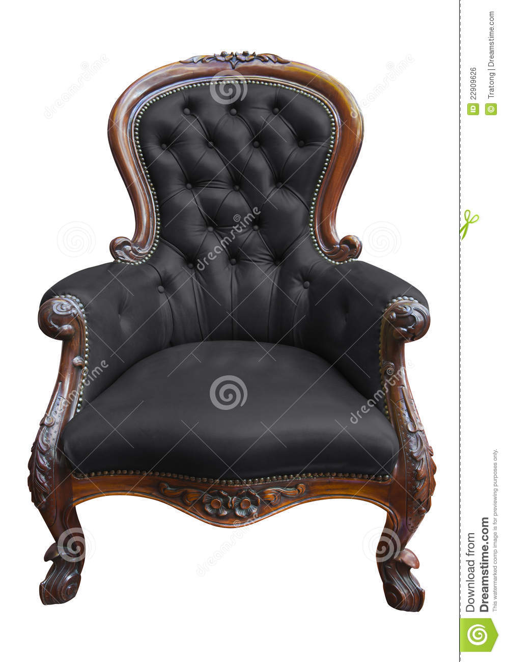 Antique black leather chair - Vintage Black Leather Armchair With Clipping Path