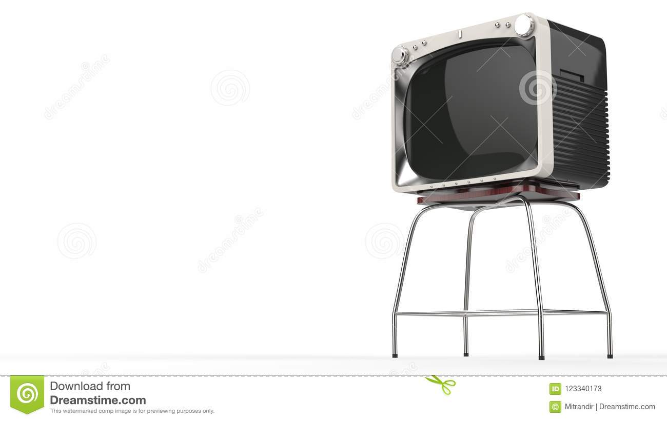Vintage black TV set with white front on a stand