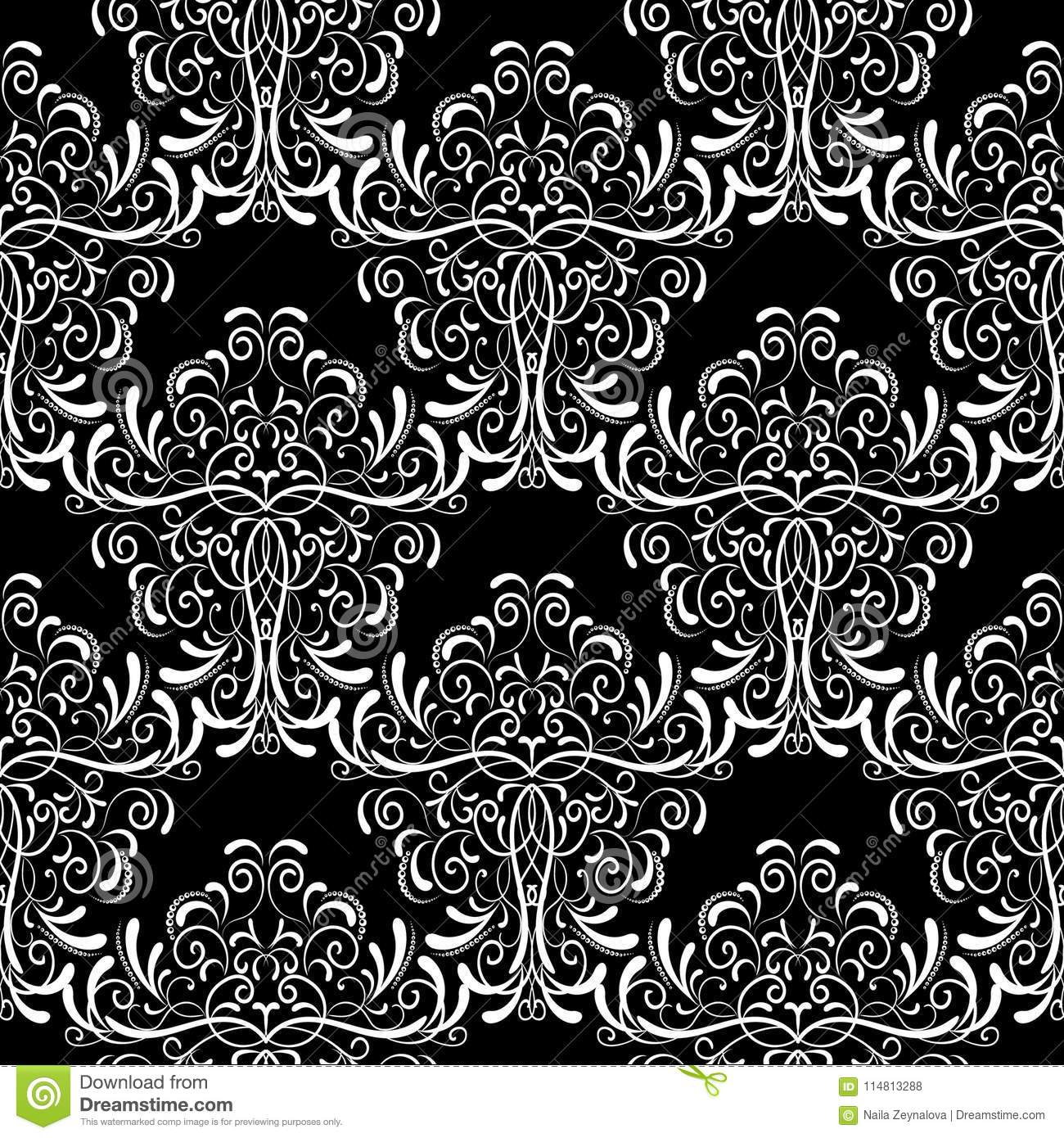Vintage Black And White Damask Seamless Pattern Vector Floral Stock