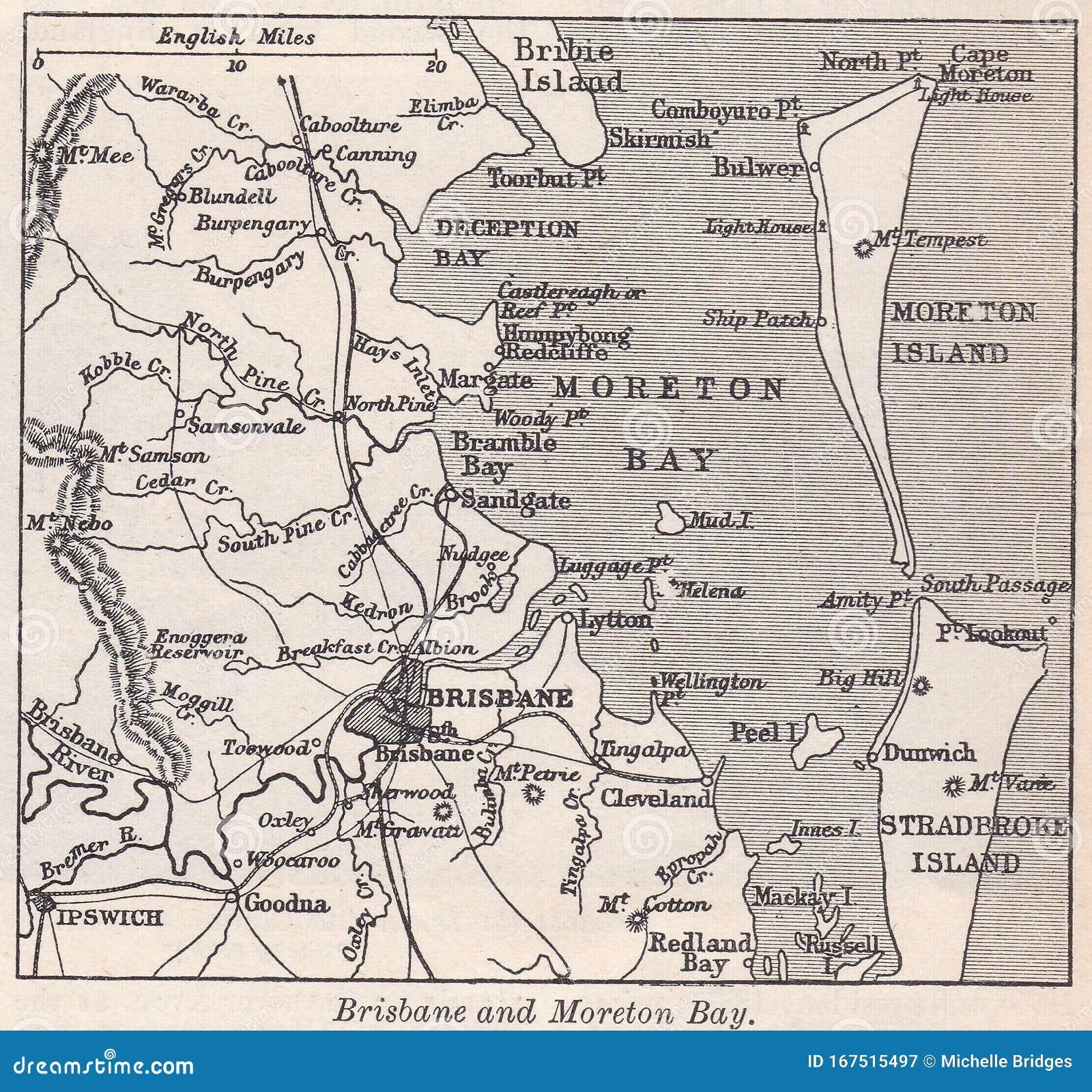 Map Of Brisbane And Moreton Bay 1900s ...