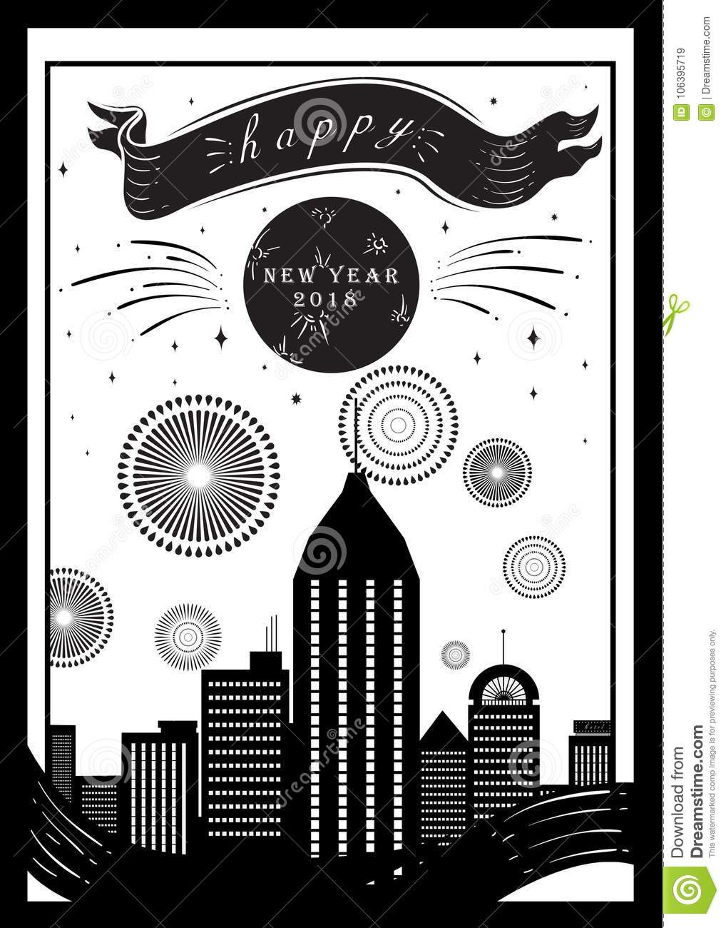 vintage black and white new year poster