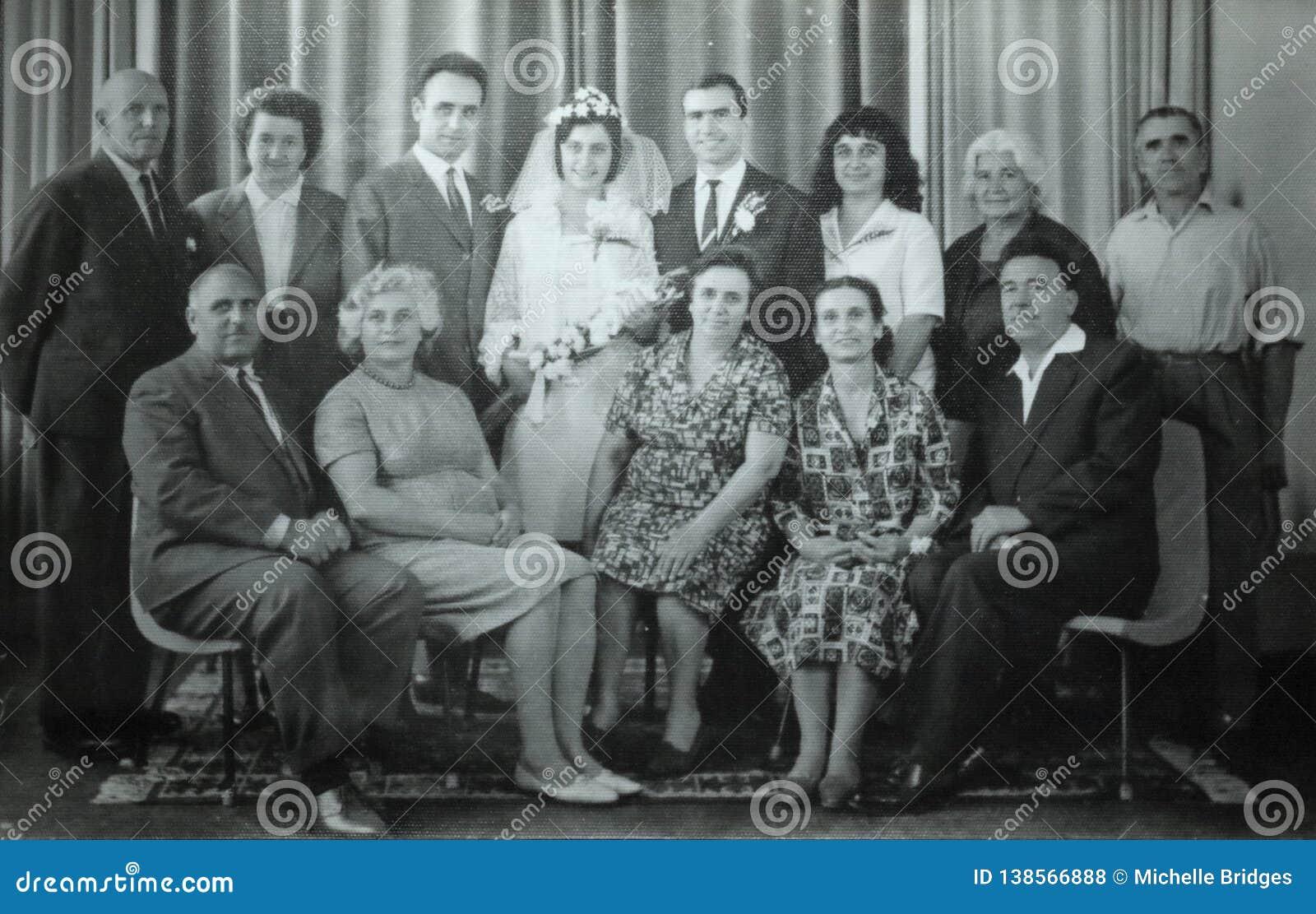 Vintage Black And White Photo Of Family Wedding 1950s European