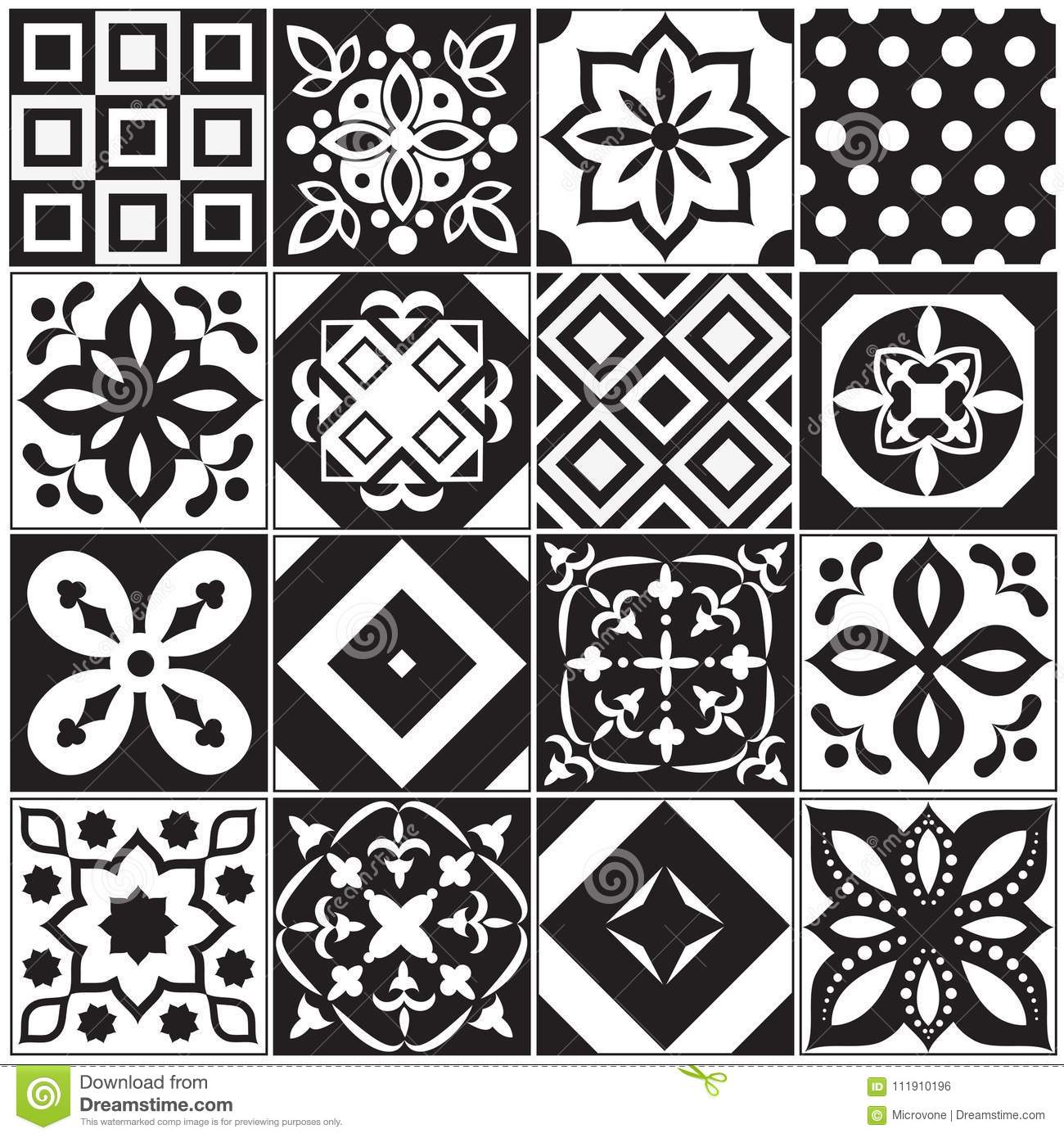 Vintage Black And White Traditional Ceramic Floor Tile Patterns