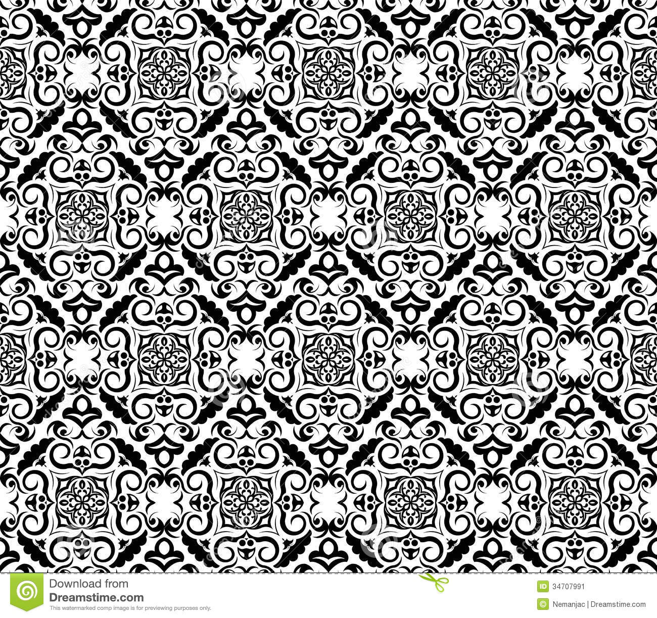 Vintage Black And White Wallpaper Stock Vector ...