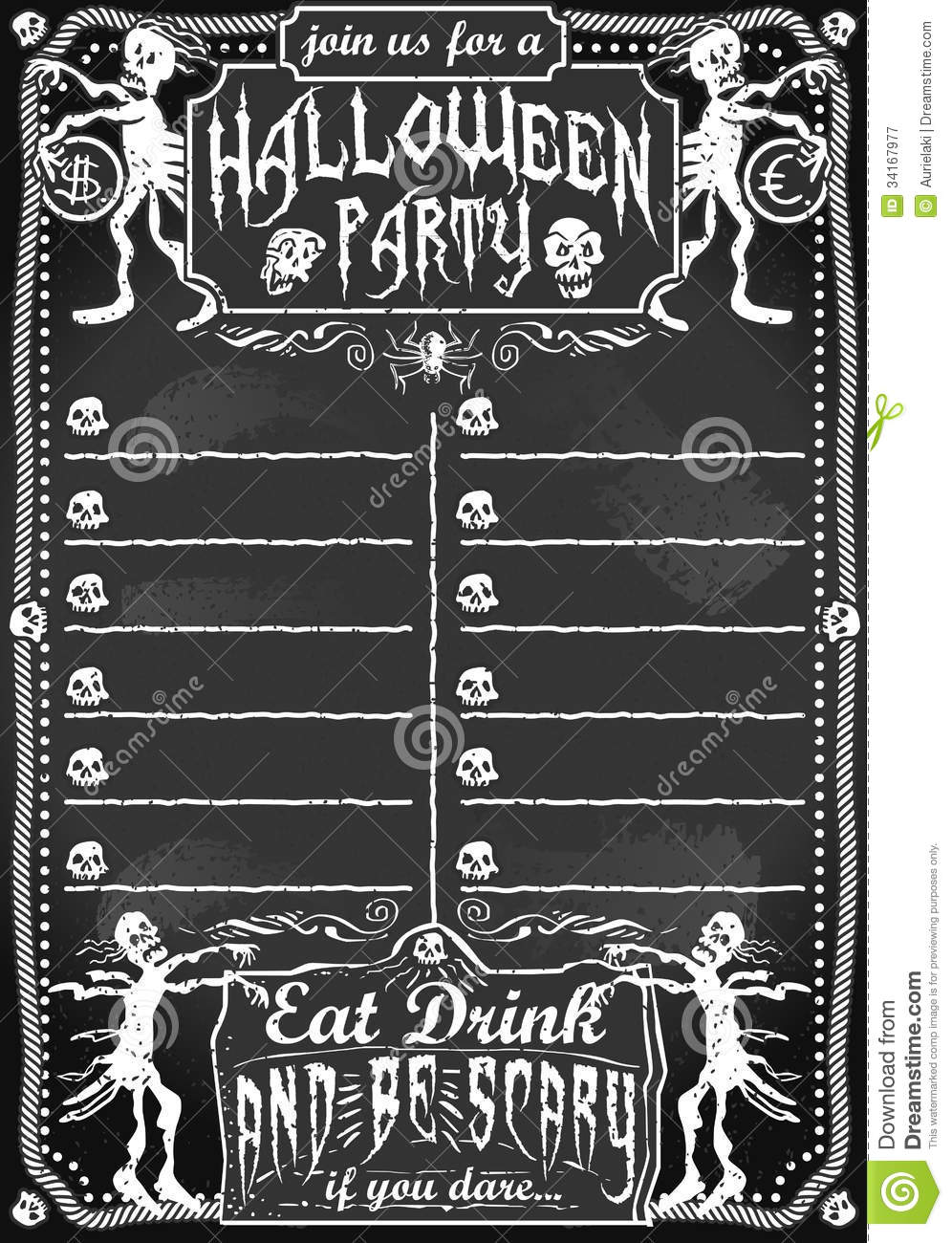 Vintage Blackboard For Halloween Party Royalty Free Stock ...