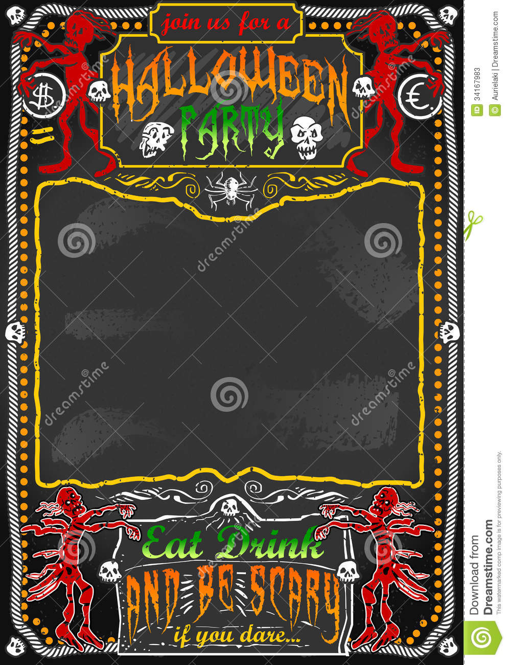 Vintage Blackboard For Halloween Party Stock Photos - Image: 34167983