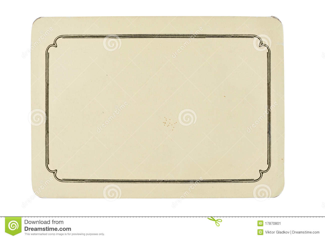 Vintage Blank Card Isolated On White Background Stock